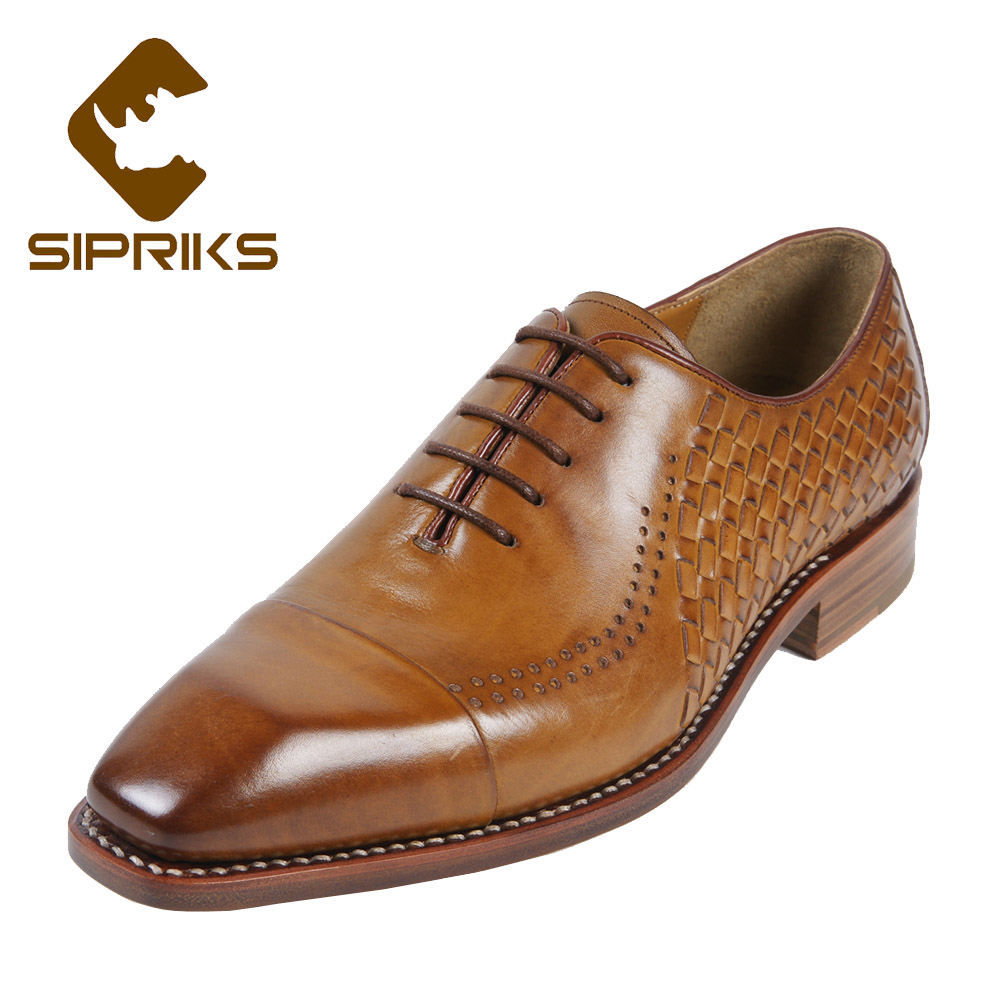Sipriks Luxury Mens Woven Formal Shoes Italian Goodyear Welted Oxfords Elegant Mens Braided Leather Shoes Two Cap Toe Shoes 2018 sipriks luxury mens braided leather shoes elegant mens woven derby shoes genuine leather dress shoes boss official business work