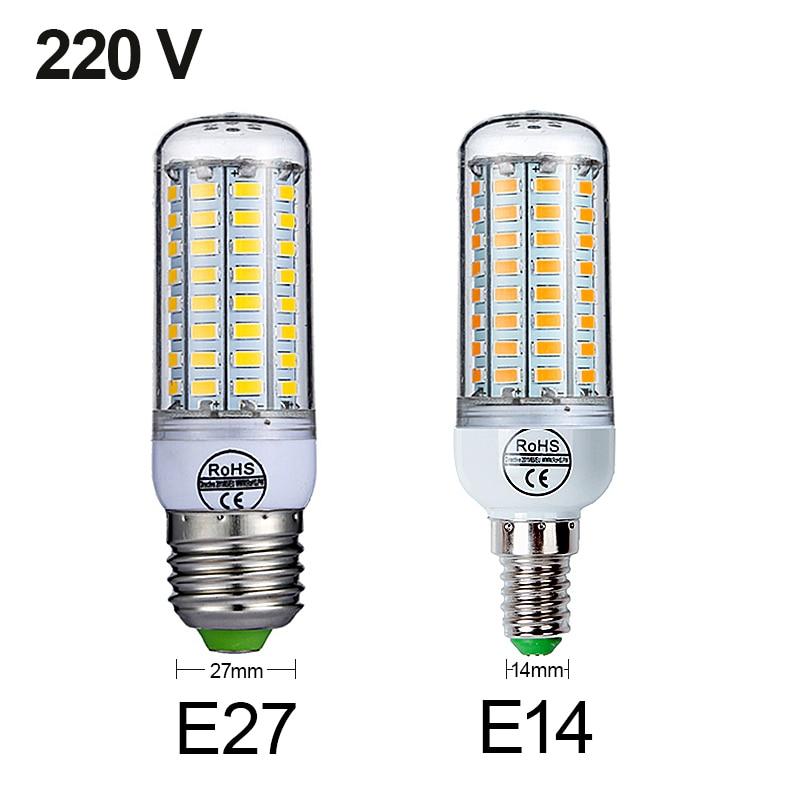 E27 LED Lamp E14 LED Bulb SMD5730 220V Corn Bulb 24 36 48 56 69 72LEDs Chandelier Candle LED Light For Home Decoration Ampoule