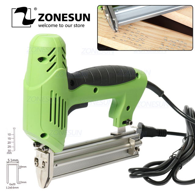 ZONESUN 2 In 1 Framing Tacker Electric Nails Staple Gun 220V Power Tools Stapler Gun 45needles/min for Woodworking Furniture
