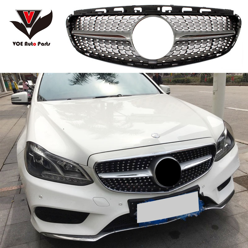 W212 Facelifted Diamond Front Racing Grill Grille for Mercedes-Benz W212 E-class E200 E260 E180 E300 Black/Silver 2013 2014 2015 dxz 2pcs car led door logo projector ghost shadow light for mercedes benz w212 w166 w176 e200 e300 e260 e class amg