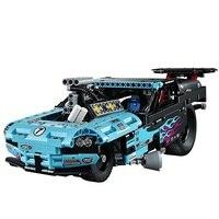 38000 LELE Technic City Series Drag Racer Car Model Building Blocks Classic Enlighten Figure Toys For Children Compatible Legoe