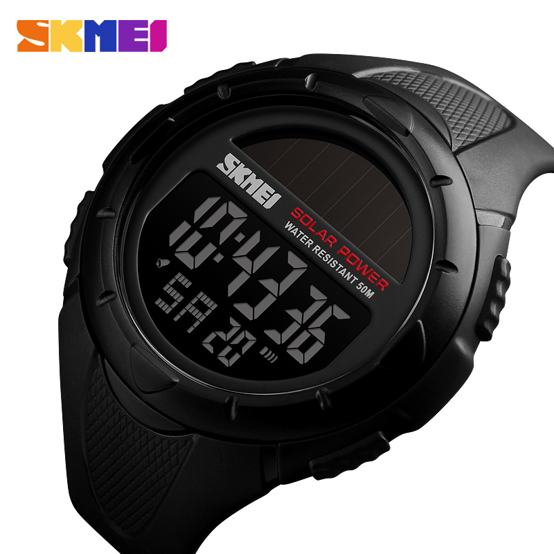 SKMEI Military Sport Watches Men Solar Power Outdoor Shock Digital Watch Chrono 50M Water Resistant Wristwatches reloj deportivo