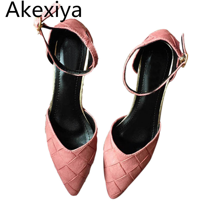 Akexiya New 2017 Spring Summer Pointed Toe Low Heels Shoes Women Sexy Thick Heels 3cm Fashion Womens Pumps Mary Jane High Heels new 2017 spring summer women shoes pointed toe high quality brand fashion womens flats ladies plus size 41 sweet flock t179