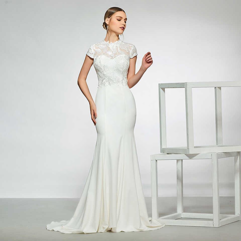 Dressv elegant alta neck vestido de noiva mangas lace sereia zipper até o chão vestidos de noiva simples vestido de noiva