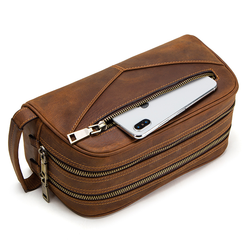 Image 2 - CONTACT'S genuine leather cosmetic bag for men vintage crazy horse leather man make up bags small travel bags male toiletry bag-in Cosmetic Bags & Cases from Luggage & Bags