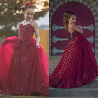 New Burgundy Lace Girls Pageant Dresses For Weddings Beading Crystal junior Girls Formal Dress Kids Prom Party Gown Size2 16Y
