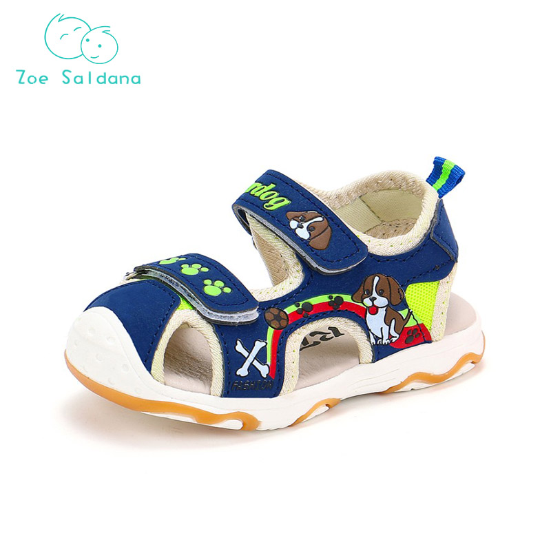 Zoe Saldana 2018 Cute Shoes Unisex Boys Girls Cartoon Dogs Hollow Flat Shoes Nubuck leather Sandals For Children