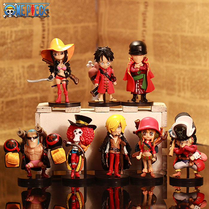 One Piece Cosplay Straw Hat Pirates Luffy Zoro Usoop Sanji Nami Q Version Boxed PVC GK Garage Kits Action Figures Toys 8Pcs/Set купить