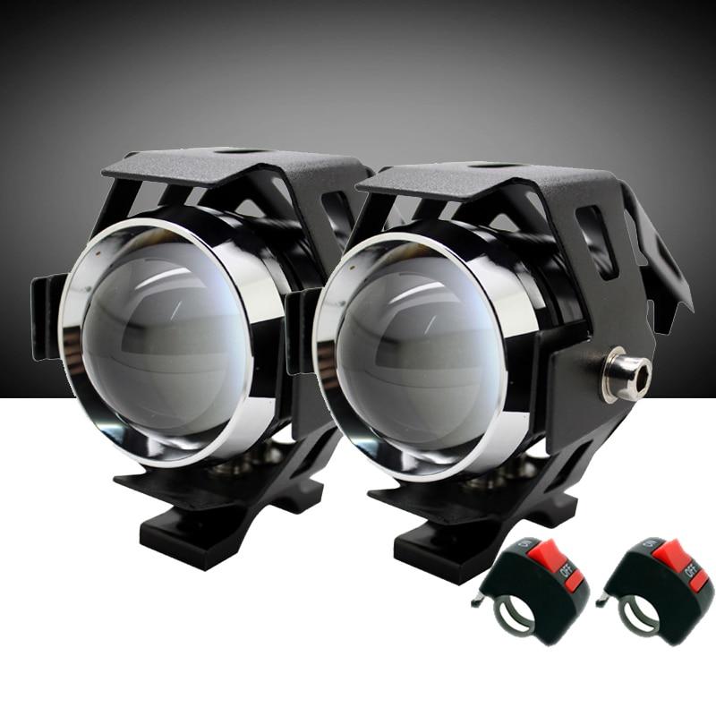 2 Unids / par SUNKIA con Interruptor de Alta Potencia 125 w CREE Chip Motocicleta Proyector Faros U5 3 Modos 3000LM Cabeza de Moto Lámpara de Niebla