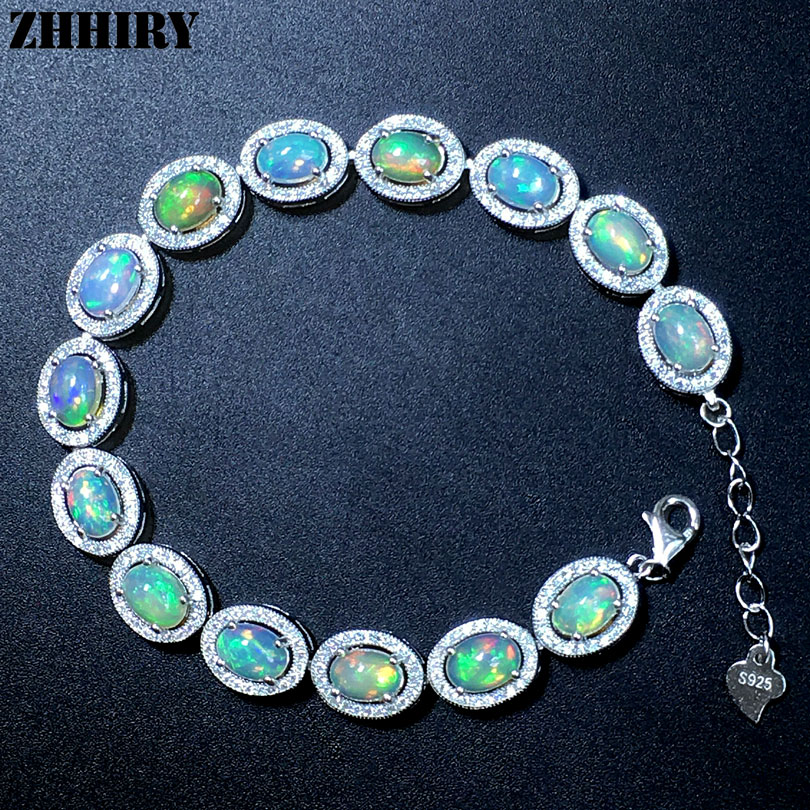 ZHHIRY Women Natural Opal Gem Bracelet Genuine Solid 925 Sterling Silver White Fire Color Precious Stone Fine Jewelry-in Bracelets & Bangles from Jewelry & Accessories    3