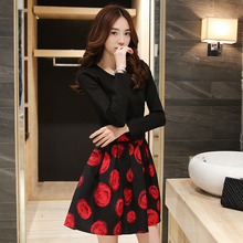 Korean New Autumn A Line Short Mini Dress Cute Floral Printted Long Sleeve Bottoming Dress Vetement