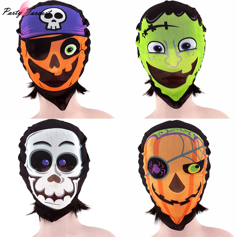PF Full Face Cosplay Mask Skull Horror Style Fabric Masks For Women Men Halloween Cosplay Party Mask Scary Decoration Accessory