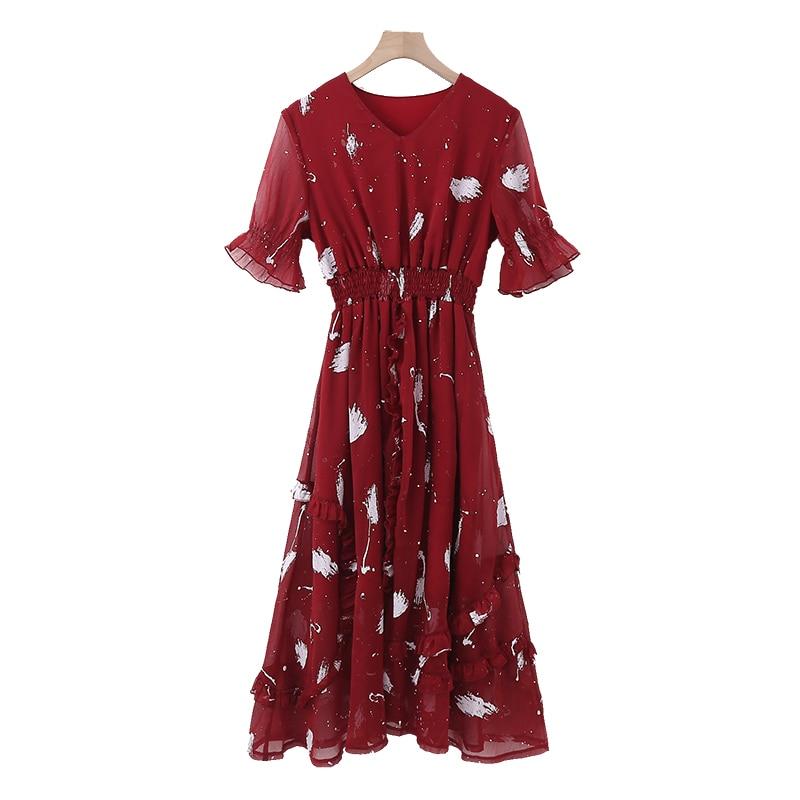 Chiffon Women Dress Plus Size XXXL 5XL 4XL Fashion Summer Casual Red Long Sexy Dress V-neck Red Sweet Women Dresses 100kg