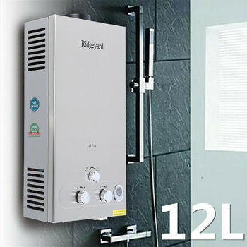 (Ship from US) 12 Liter Hot Water Heater Shower With LCD Display Tankless LPG Propane Bottle Gas Boiler Household
