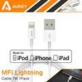 Aukey 8 pin USB кабель для Передачи Данных Кабель Зарядного Устройства Линия IOS 6 7 8 для Apple, MFi Сертифицированной или iPhone 7/7 Плюс 5В 5S 6 6 s 6 Плюс ipad Air