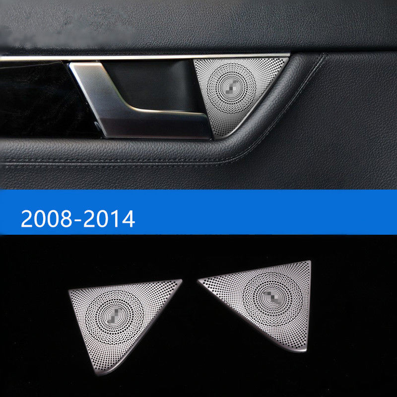 2pcs Stainless Car Interior Rear Door Stereo Speaker Frame Cover Trim Decal For Mercedes Benz C class W204 2008-2014 Car Styling chrome door audio speaker cover frame trim for mercedes benz c class w205 c180 c200 c300 2015 2016 car styling accessories