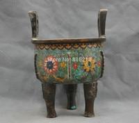 bi00787 10 Chinese Bronze Hand folk Old Cloisonne Buddhism Censer statue