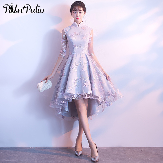PotN Patio Vintage High Neck Half Sleeves Lace Silver Gray High Low Bridesmaid  Dresses 2018 8a4869f263c9