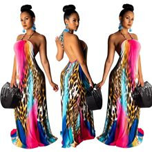 European And American Women Fashion Sexy Backless Leopard Print Halter Maxi Dress Beach