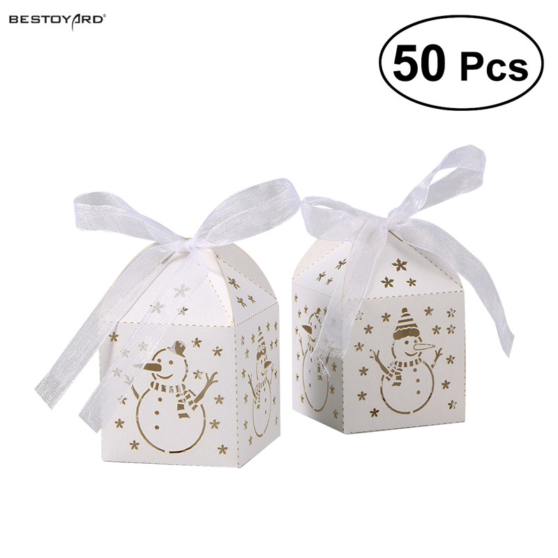 White BESTOYARD 50pcs Wedding Favor Boxes Hollow Out Craft Paper Box for Gifts Candy Sweets