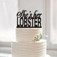 Ze haar KREEFT Cake Topper Lesbische Cake Toppers voor Wedding Custom Script Bruiloft Decoratie Rustieke Dezelfde Sex Cake Topper Gift