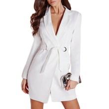 Women Fashion Autumn Sashes Slim Elegant OL Long Blazer Casual White Office Work Jacket Suit