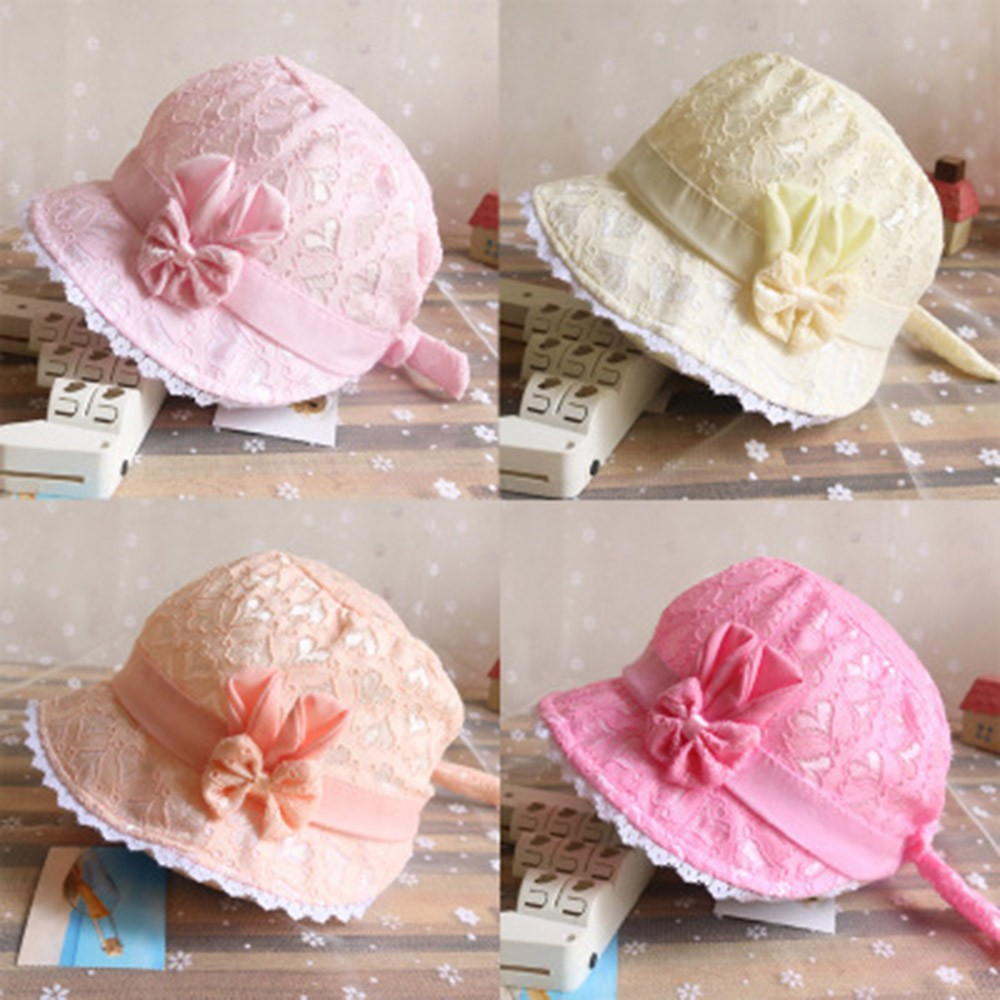 0-6M Toddler Baby Girl Hat Summer Cartoon Bow Lace Cap  Peach Heart Printing Caps Sunhat Hats