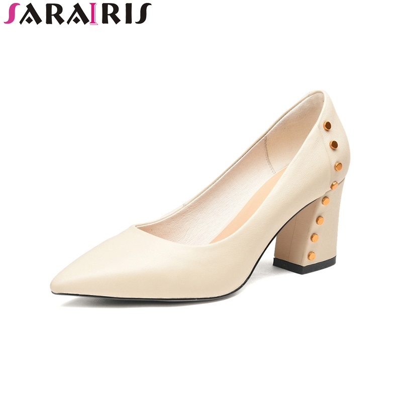 SARAIRIS 2018 Spring Autumn Brand Genuine Leather Pointed Toe Pumps High Heels Shoes Woman Rivet Elegant Women Lady Shoe aercourm a women black pumps 2018 spring high heels shoes woman shoes genuine leather square head rivet pointed shoes dtn8 1