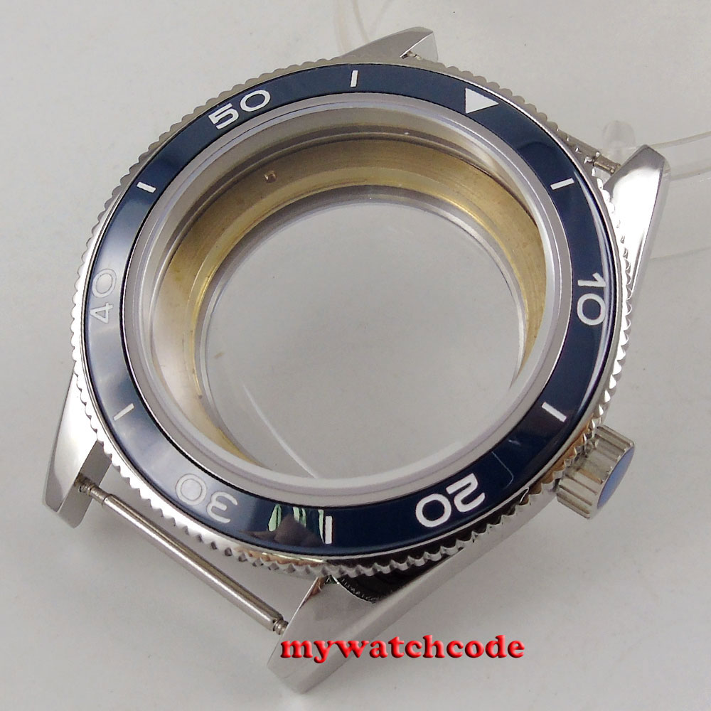 где купить 41mm blue ceramic bezel sapphire glass Watch Case fit ETA 2824 2836 MOVEMENT 140 по лучшей цене