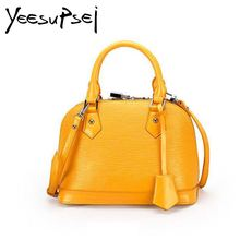купить YeeSupSei Solid Color Luxury Shell Bag Genuine Leather Fashion Handbag Women Bag Lock And Key Shoulder Bag Crossbody Female Bag дешево