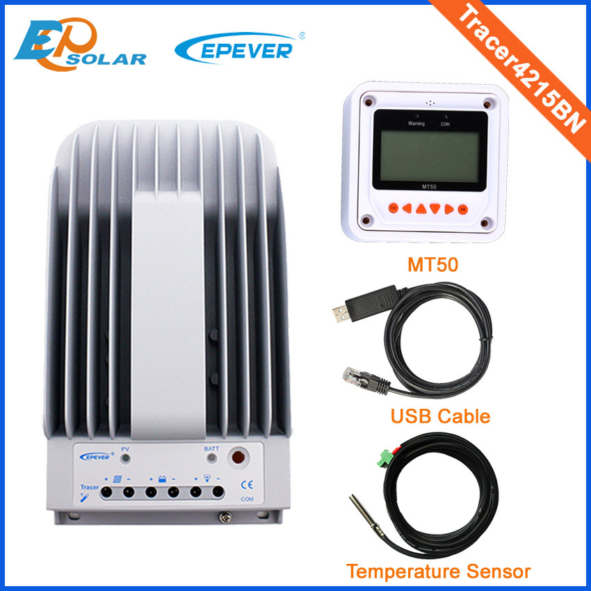 Max PV input 150v solar panel regulator 40A 40amp Tracer4215BN USB+sensor cables and MT50 meter white color portable solar power meter for solar research and solar radiation measurement sm206