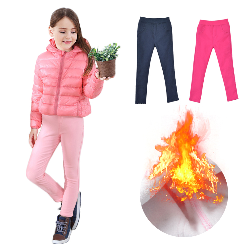 Kids Girl Leggings Bow Children Winter Warm Stretchy Pants Toddler Trousers 3-7Y