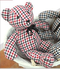 new creative plush simple red check cloth bear toy lovely bear toy gift doll about 75cm