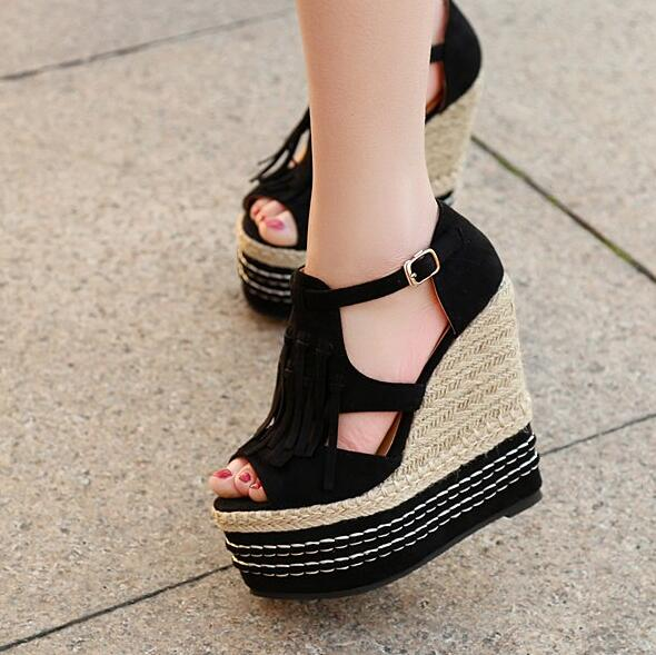 f24e0a0602c5a 2018 Hot Selling Summer Wedge Sandals 15 CM Open Toe Black Red Suede Fringe  Platform Sandals Cutous Rope Braided Woman Sandal