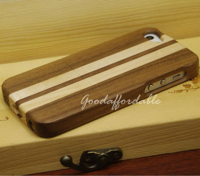 Hot item Stripe Wooden Case Covers For iPhone 5