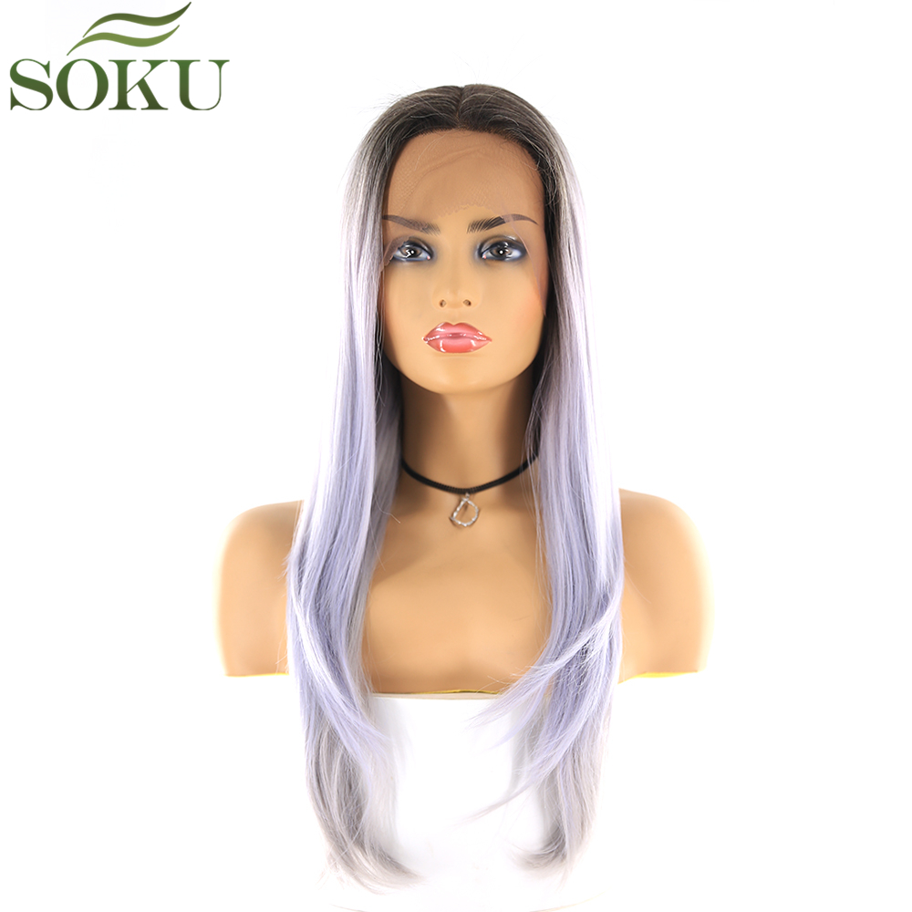 Synthetic Lace Front Wigs SOKU 150% Density Straight Wigs 13*4 Lace Front Glueless High Temperature Fiber Wig For Women