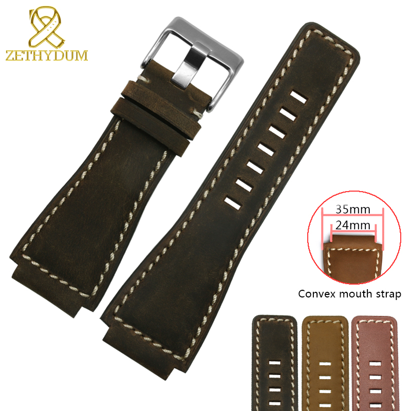 Fashion Genuine Leather Bracelet For BR0392 Mens Watch Strap 24mm Watchband Convex Interface Nubuck Wristwatches Band 35*24mm