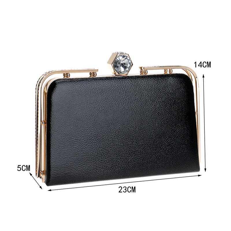 SEKUSA/Модная женская сумка из искусственной кожи, украшенный бриллиантом клатч, вечерняя сумка, металлическая Золотая цепочка, сумки на плечо, маленькие вечерние сумочки