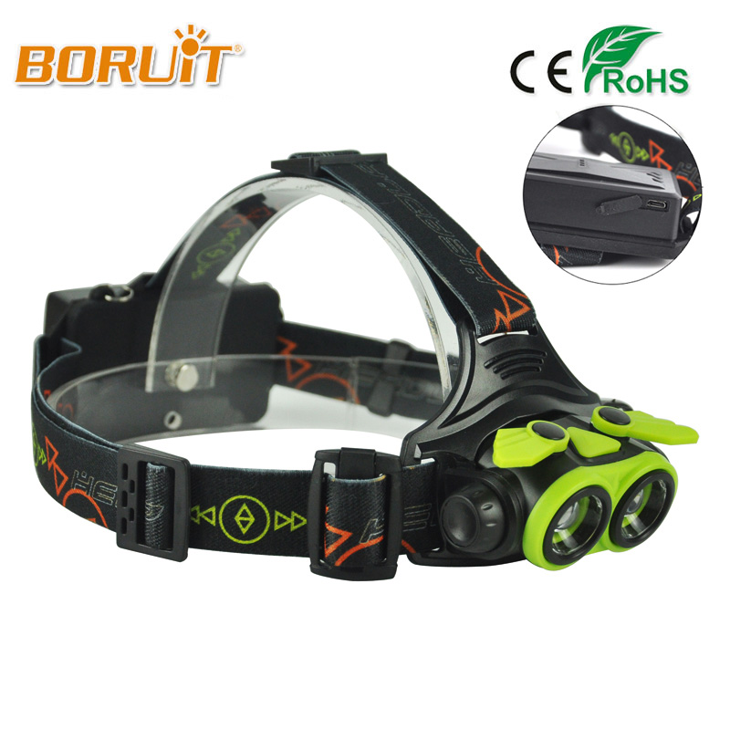 BORUIT XM-L2 LED USB Headlight 2000LM 4 Modes Headlamp 18650 or AA Zoom Head Lamp Flashlight Torch For Camping Fishing Lighting boruit b17 led headlamp 10000lm 3 led xm l2 rechargeable headlamp fishing 4 modes camping head lamp cycling headlight flashlight