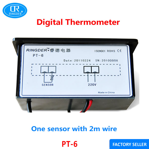 ringder pt 6 220vac 40~110c universal digital thermometer temperature  indicator with 2m ntc sensor wire free shipping 2pcs-in temperature  instruments from