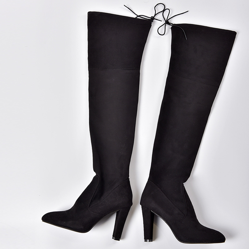 Women's Flock Leather Over The Knee Boots Size 34-43 10