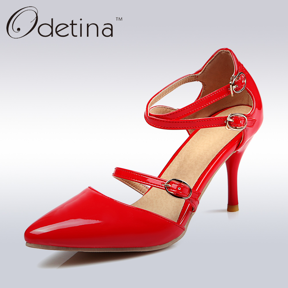 Odetina 2018 Fashion Cross Strap High Heels Buckle Ankle Closed Toe Ankle Strap Pumps Sexy Party Shoes Thin Heels Big Size 32-48 lady larger size 4 15 t strap buckle sexy closed round toe genuine patent leather thin high heels shoes women pumps party offce