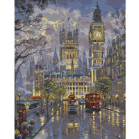 Hand Painting Canvas Oil Painting Frameless DIY Digital Oil Painting By Numbers London Street Street Home