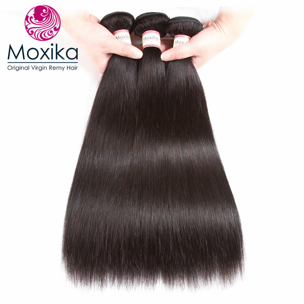 Moxika Malaysian Straight Human Hair 3bundles lot Remy 8 28inch Straight Hair weaves Natural Color 100g