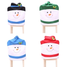1Pc Christmas Chair Covers Lovely Snowman Back Party Home Table Gift Dinner