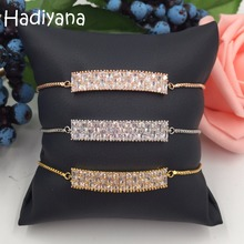 Hadiyana Sparkling Micro Pave CZ Rectangle Shape 3colors Plating Adjustable Bracelet Sets with Slide Lock for Women WeddingSL621