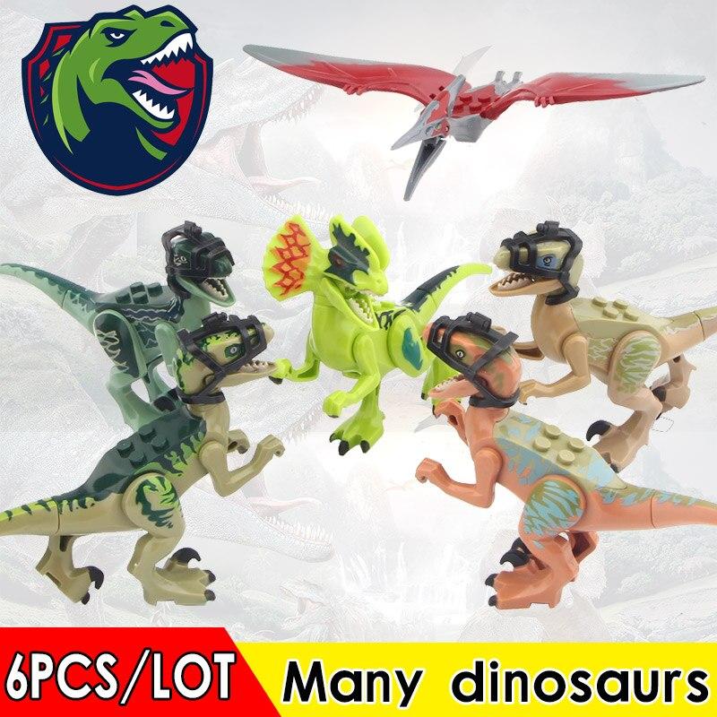 50PCS LOT Dinosaurs Pteranodon Dilophosaurus Velociraptor Animals Series Model Building Blocks Gift Toys For Children