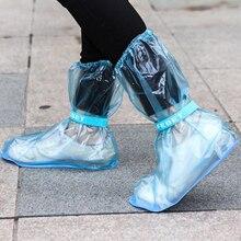 Soumit PVC Adjustable Reusable Waterproof Slip Resistant Shoe Cover Portable Shoe Covers for Protecting Shoes Transparent Blue