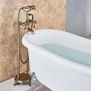 Antique Brass Floor Mounted Bathtub Shower Faucet Dual Handle standing Bathroom Faucet Brass Swivel Spout 150cm Shower Hose