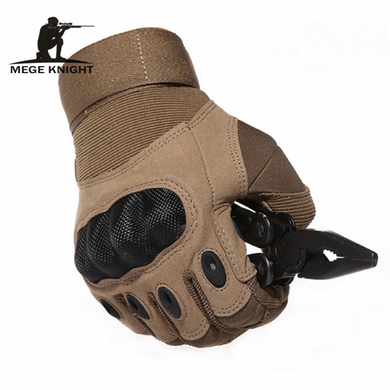 MEGE Tactical Army Airsoft Paintball Shooting Gloves Full Finger Military Men's Gloves Armor Protection Shell Gloves